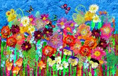A beautiful work of art featuring rich textures and colours. Flower power is an artistic interpretation of the mayhem of an English Garden in full bloom. An explosion of colour. Plants jostle and c…