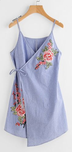 Embroidered Flower Applique Pinstripe Asymmetric Wrap Dress - - Inspiration for re-fashion project Diy Clothes, Fashion Clothes, Fashion Outfits, Womens Fashion, Fashion Trends, Summer Outfits, Cute Outfits, Summer Dresses, Work Outfits