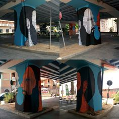 """Face to Face,  complete work for Creature Urbane, Bergamo 2015, thanks @pigmenti_eu  #bearded #beard #face #man #colors #column  #streetart #urbanart…""    andreacasciu, artist"