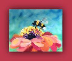 BEE - Original Oil Painting, bee, flower, sky by ARTbyDanaC on Etsy