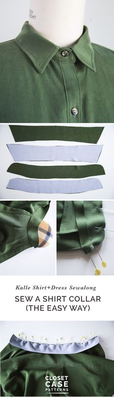 An Alternative Method for Sewing A Shirt Collar // Kalle Sewalong