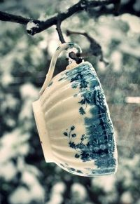 Beautiful blue and white china tea cup - set against a winter scene.  `nice composition`