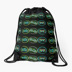 Retro Videos, Retro Video Games, Backpack Bags, Tote Bag, Neon Bag, Drawstring Bags, Woven Fabric, Color Patterns