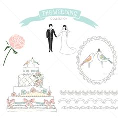 CLIP ART and Photoshop brushes - The Wedding Collection Part 1 - for commercial and personal use