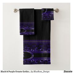 Black & Purple Ornate Gothic Monogrammed Bath Towel Set Bathroom Towels, Bath Towels, Etsy Handmade, Handmade Items, Vintage Fonts, Bath Towel Sets, Black Silver, Keep It Cleaner, Colorful Backgrounds