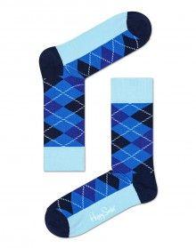 Happy Socks modré pánské ponožky Argyle