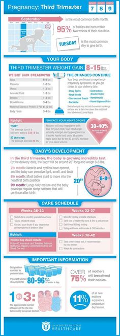 Pregnancy: Third Trimester Infographic from University of Utah Health Care Pregnancy Facts, Pregnancy Labor, Trimesters Of Pregnancy, Pregnancy Health, Weeks Of Pregnancy, Pregnancy Guide, Getting Ready For Baby, Preparing For Baby, Baby Boys