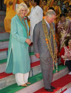 Camilla, Duchess of Cornwall and Prince Charles, Prince of Wales take part in an Aarti ceremony at the Parmarth Niketan Temple on the banks of the River Ganges during day 1 of an official visit to India on November 6, 2013 in Dehradun, India.