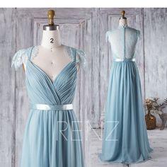 Dusty Blue Bridesmaid Dress V Neck Wedding Dress Lace Back