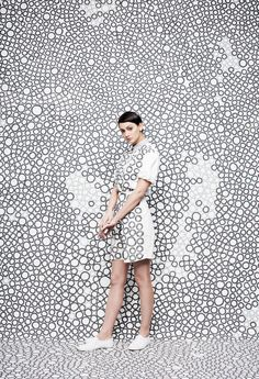 """The work of creative duo JUCO is a bright collision of colour and pattern. I was particularly taken by this shoot that extends print-centric clothing to large-scale painted backdrops. """"JUCO r… Yayoi Kusama, Fashion Art, Editorial Fashion, Fashion Images, Fashion Shoot, Fashion Prints, Creative Photography, Fashion Photography, Concept Photography"""