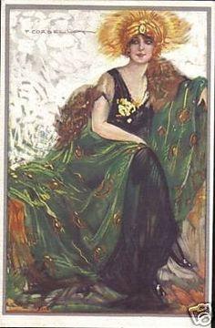 Tito Corbella. Beautiful Lady Of Fashion. Dell'Anna & Gasparini, Milano. Serie 467-5, Proprieta Artistica Riservata. Card is in very good unused condition with pencil/erasure on verso. Approx. 14 cm