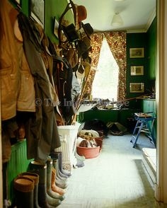 This typical English country cloakroom is filled with outdoor clothing, Wellington boots & sleeping dogs English Country Decor, Town And Country, Country Life, French Country, English Interior, Country Interior, British Home, British Style, English House