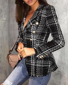 Blazer Bureaux – sportNchic Tweed, A Guy Like You, Checked Blazer, British Style, Types Of Sleeves, Spring Outfits, Sleeve Styles, Bell Sleeve Top, Cute Outfits