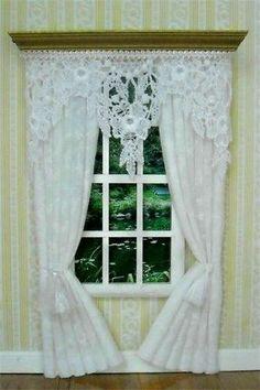 Dollhouse Curtain ~ White Lace Curtains Drapes