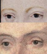 Eyes of young Elizabeth and Ontario Anne.  Very similar in that they both are slightly slanted.  Elizabeth's later images are rendered with different eyes so this may be a coincidence...but it's worth noting.