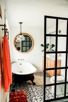 Marvelous Farmhouse Master Bathroom Decor Ideas and Design Bohemian Bathroom, Eclectic Bathroom, Modern Bathroom, Bathroom Ideas, Bathroom Green, Master Bathroom, Simple Bathroom, Relaxing Bathroom, Ikea Bathroom