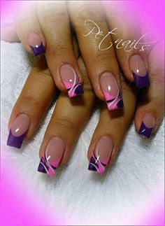 # Design # pretty # purple # nails # pink # and - nagelpflege - Nail Tip Designs, Purple Nail Designs, French Nail Designs, Pretty Nail Art, Colorful Nail Designs, Beautiful Nail Designs, Acrylic Nail Designs, Nails Design, Art Designs