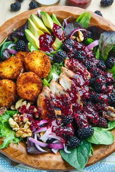 Blackberry Balsamic Grilled Chicken Salad with Crispy Fried Goat Cheese summer recipes summer recipes abendessen rezepte recipes recipes dessert recipes dinner Salad With Chicken, Balsamic Grilled Chicken, Tarragon Chicken, Roasted Chicken, Tandoori Chicken, Fried Goat Cheese, Salads With Goat Cheese, Chicken Goat Cheese, Summer Salads