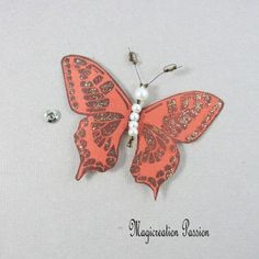 Papillon soie bouton pression marron 7.5 cm Insects, Creations, Support, Dimensions, Passion, Accessories, Playing Card, Papillons, Silk