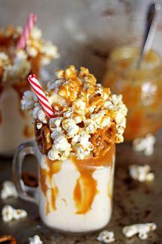 Salted Caramel Kettle Corn Epic Milkshake - the milkshake to end all milkshakes! Salted Caramel Milkshake Recipe, Salted Caramel Popcorn, Salted Caramel Brownies, Caramel Corn, Milkshake Recipes, Milkshakes, Yummy Ice Cream, Ice Cream Recipes, Popcorn Ice Cream