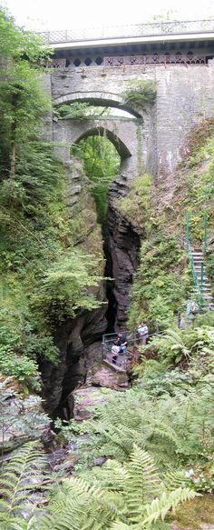 Devil's Bridge, Aberystwith, Wales ~ it's like a bridge inside of a bridge inside of a bridge over a gorge!!!!