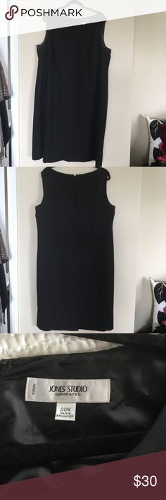 """Classic Fully Lined Sheath Classic fully lined Black Sheath. 100% polyester - Dry Clean Only,. 42"""" from shoulder to hem. Jones New York Dresses"""