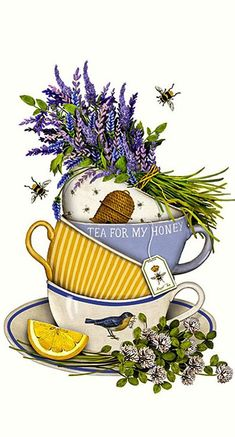 Lavender Tea Cup Cotton Flour Sack Dish Towel Tea Towel Discover our huge collection of dish towels and dog lover gifts. Designed by Mary Lake Thompson, featuring a stack of lavender filled tea cups. Dish Towels, Tea Towels, Tee Kunst, Flour Sack Towels, Flour Sacks, Dog Lover Gifts, Tea Time, Tea Pots, High Tea