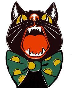 Black cat with bowtie