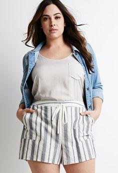 Striped Drawstring Shorts | Forever 21 PLUS - 2000076583