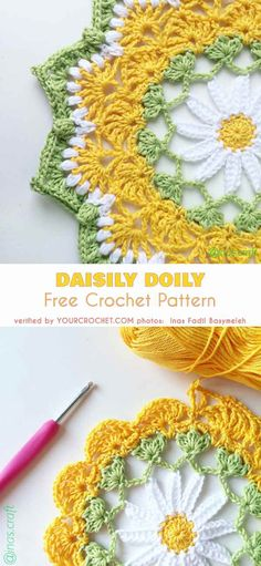 Daisily Doily Free Crochet Pattern This is a beautiful doily with a daisy motif, a perennial favorite among crocheters. It is quite an easy pattern, as it only has 11 Crochet Coaster Pattern, Crochet Mandala Pattern, Crochet Square Patterns, Crochet Stitches Patterns, Crochet Designs, Knitting Patterns, Free Crochet Doily Patterns, Dishcloth Crochet, Crochet Doily Diagram