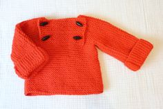 Hand knit sweater, 12 to 18 months. Poppy red wool