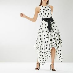 Coast Elvie White Spot Polka Belted Asymmetric Races Cruise Party Dress 10 38 #Coast #ALineDress #PartyCocktail