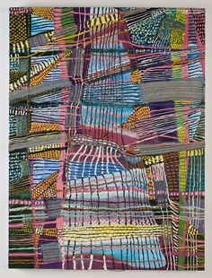 "Stacey Piwinski_Object of Labor #3, Handwoven fabric, string, and oil on canvas, 48x36"", 2012."