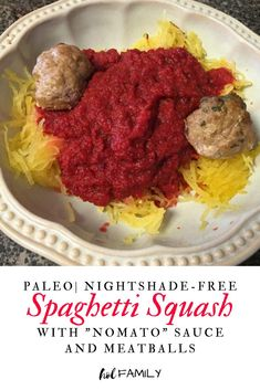 Low carb, grain free, and kid-approved! Instead of traditional tomato sauce, this healthy recipe uses beets and carrots to mimic a traditional red marinara sauce. Pasta noodles are replaced with low-calorie, grain-free spaghetti squash. The end result is a delicious and nutritious spin on traditional spaghetti and meatballs. #healthydinner #kidfriendlymeal #paleorecipe #ketorecipe #spaghettisquash #nomatosauce #holfamily