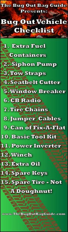 Bug Out Vehicle Checklist. Items to include if you are planning on bugging out in a vehicle.