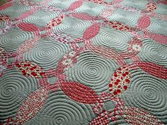 I love the quilting!!  Urban Winter quilt..swirl quilting by Sew Kind of Wonderful, via Flickr