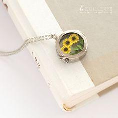 Sunflower Glass Locket Necklace. Handmade Paper Flower
