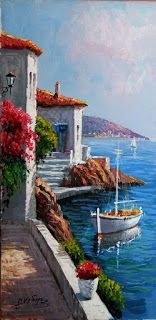 pinturas al oleo marinas ile ilgili görsel sonucu Landscape Art, Landscape Paintings, Painting & Drawing, Watercolor Paintings, Watercolor Artists, Painting Videos, Tableau Pop Art, Pictures To Paint, Beautiful Paintings