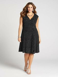 Laura Plus: for women size 14 . Glitter dots add dimension to this LBD to make it the perfect update to your evening repertoire. With a chic faux wrap cut and ruched detailing, the fit is perfectly flattering!...5030103-8349