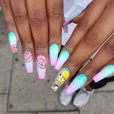 Try some of these designs and give your nails a quick makeover, gallery of unique nail art designs for any season. The best images and creative ideas for your nails. Aycrlic Nails, Swag Nails, Manicure, Coffin Nails, Grunge Nails, Matte Nails, Black Nails, Glitter Nails, Disney Acrylic Nails