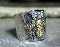 Abeja abejorro abeja insectos plata banda ancha anillo - el anillo de abeja de jardín