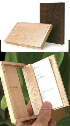 wooden business card holder: