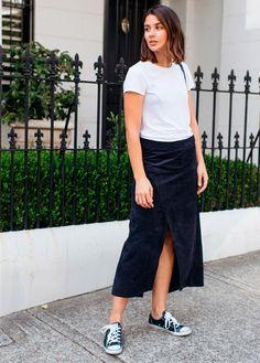 look street style com camiseta e saia longa