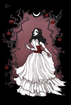 I tried to make a more classical and gloomy version of Snow White I hope you'll like it! Art prints available on ink fineliner, waterc. Disney Kunst, Arte Disney, Disney Art, Dark Gothic Art, Dark Art, Gothic Artwork, Dark Fantasy, Fantasy Art, Snow White Art