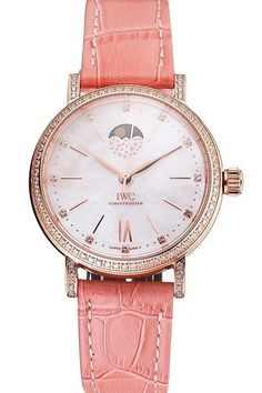 Womens Replica IWC Portofino Moon Phase Diamond Encrusted Rose Gold Plated Bezel Pearl Dial Watch with Pink Leather Strap