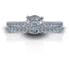 3/4 Carat T.W. Round Diamond 10kt White Gold Bridal Set