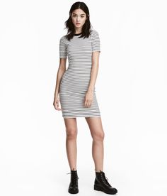 Check this out! Short, fitted dress in soft, ribbed jersey with short sleeves. - Visit hm.com to see more.