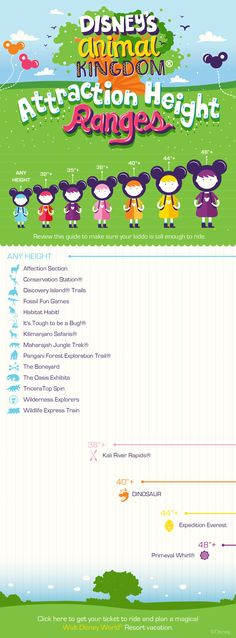 Disney's Animal Kingdom attraction height ranges for toddlers. | Walt Disney World | (Note: Pinterest provides a pop-up saying that the link may be suspicious; however it goes to Disney World's own site).