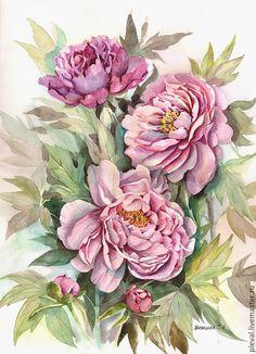 Купить Картина акварелью Летние пионы - сиреневый, пион, цветы, акварель, графика, картина в подарок