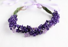 Purple Floral Crown, Spring Head Wreath, Flower Girl Halo, Boho Floral Crown, Woodland Crown, Wedding Floral Crown, Purple Hair Garland on Etsy, $28.00
